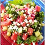 Watermelon, Kale & Cucumber Salad with Lime Mint Vinaigrette