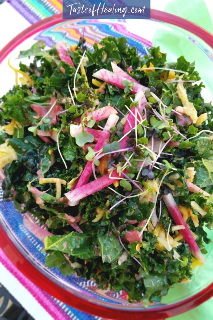 Jicima Kale Salad with Cranberry Ginger Vinaigrette