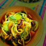 Melon & Zucchini Ribbon Salad with Sesame Ginger Dressing