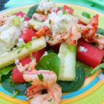 Chili Lime Watermelon & Cucumber Salad with Shrimp & Whipped Feta