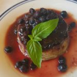 Lemon Flan with Blueberry Balsamic Sauce