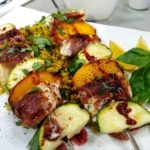 Prosciutto Wrapped Fish Kebabs with Peaches & Pomegranate Glaze