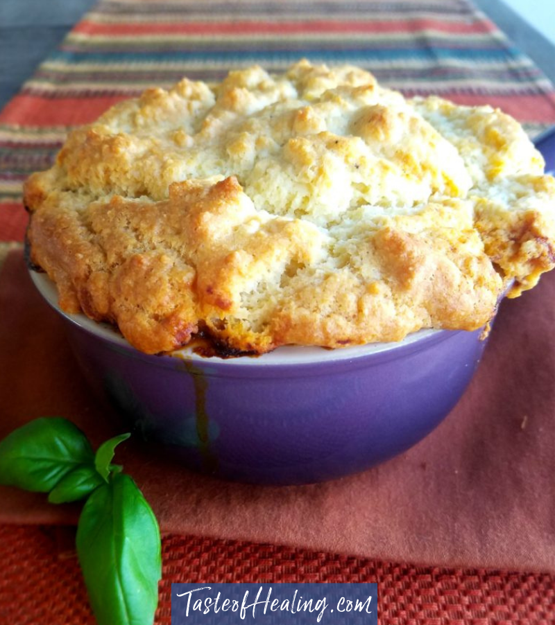 a Bowl of the Grass Fed Beef Pot Pie Provencal with Gluten Free Topping