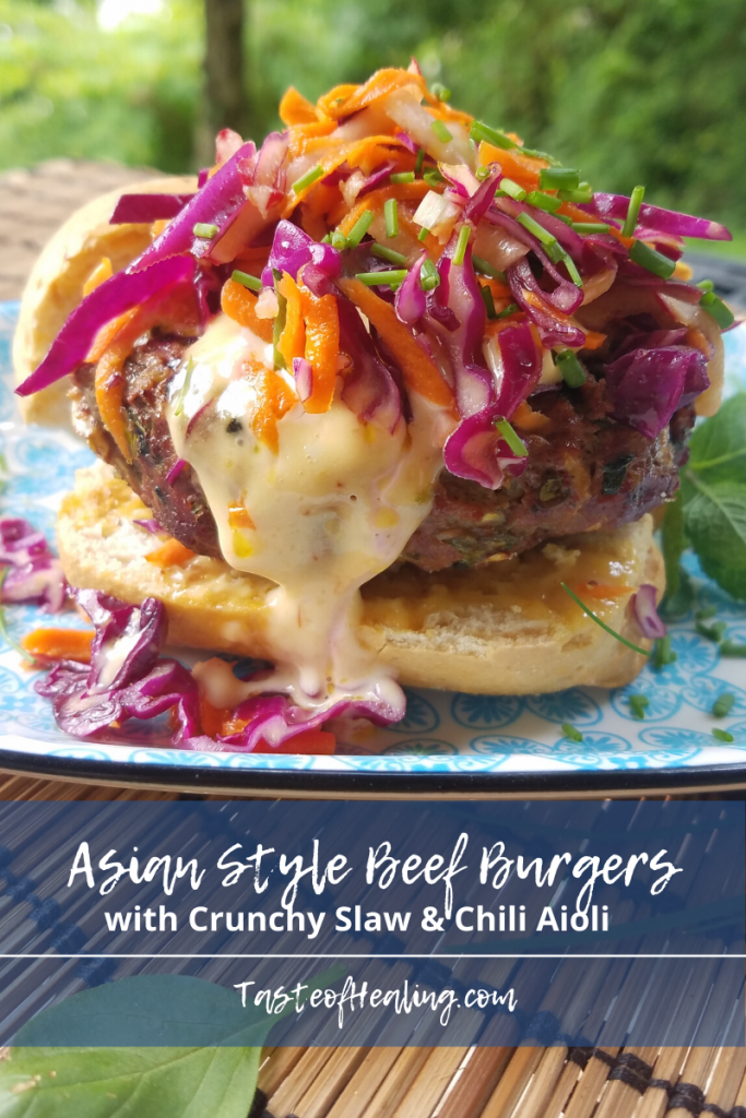 Asian Style Beef Burgers with Crunchy Slaw & Chili Aioli