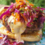 Asian Style Beef Burgers with Crunchy Slaw and Chili Aioli