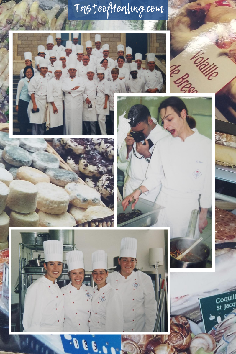 Collage of time at school, with Chef Luc, South of France