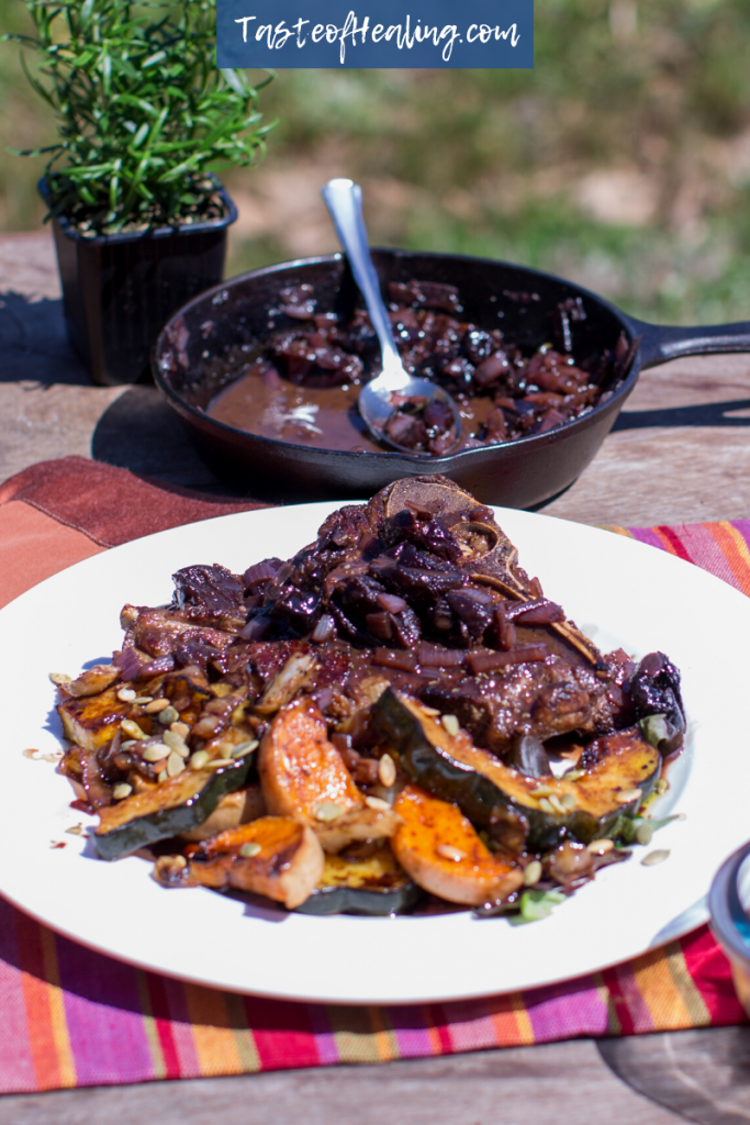 Bison Steak with Rosemary Prune Sauce & Roast Vegetable Salad