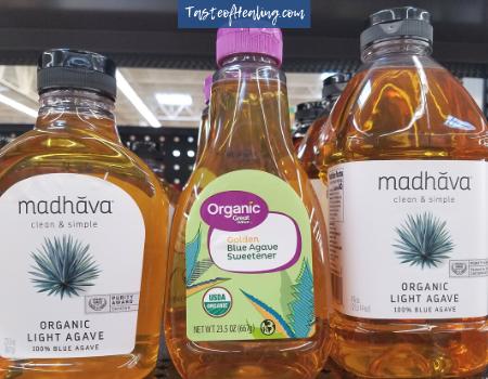 agave bottles on shelf