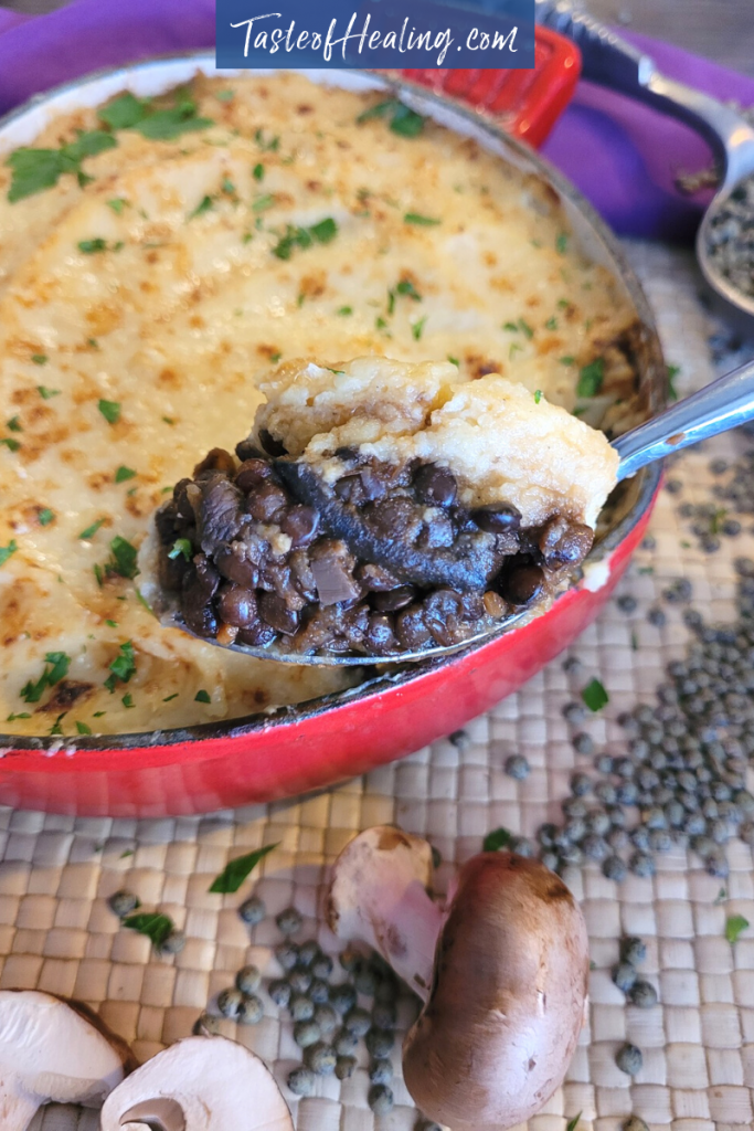 French Puy Lentil and Mushroom pie